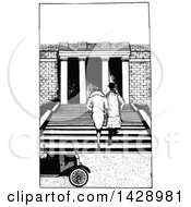 Vintage Black And White Rear View Of A Sketched Couple Going Up Steps