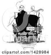 Clipart Of A Vintage Black And White Rear View Of A Sketched Couple In A Car Royalty Free Vector Illustration by Prawny Vintage