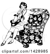 Vintage Black And White Woman Crying In A Chair