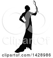 Clipart Of A Vintage Black And White Silhouetted Woman Holding A Mirror Royalty Free Vector Illustration by Prawny Vintage
