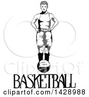 Vintage Black And White Sketched Basketball Player