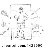 Vintage Black And White Sketched Male Athlete And Equipment