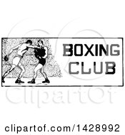 Vintage Black And White Sketched Boxing Club Design