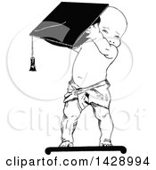 Vintage Black And White Sketched Baby Boy Holding A Graduation Cap