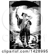 Vintage Black And White Sketched Male Graduate Holding A Torch And Leading A Line