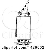 Vintage Black And White Sketched Clown Wearing A Sign