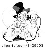 Vintage Black And White Sketched Man Using A Candlestick Phone