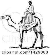 Clipart Of A Vintage Black And White Man Riding A Camel Royalty Free Vector Illustration by Prawny Vintage