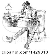 Clipart Of A Vintage Black And White Sketched Stressed Man Sitting At A Desk Royalty Free Vector Illustration by Prawny Vintage