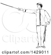 Clipart Of A Vintage Black And White Sketched Man Holding A Sword Royalty Free Vector Illustration