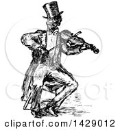Vintage Black And White Sketched Man Playing A Violin