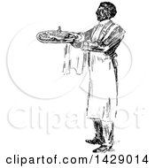 Vintage Black And White Sketched Waiter Serving Food