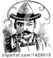 Clipart Of A Vintage Black And White Man Aiming A Gun Royalty Free Vector Illustration