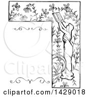Clipart Of A Vintage Black And White Sketched Woman Reading And Floral Border Royalty Free Vector Illustration