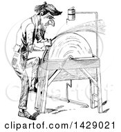 Clipart Of A Vintage Black And White Sketched Man Sharpening An Axe Royalty Free Vector Illustration