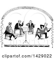Vintage Black And White Sketched Band Of Musicians
