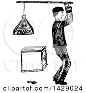Vintage Black And White Sketched Man Holding A Pledge Weight Over A Safe