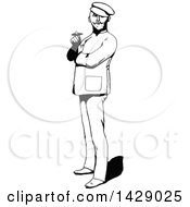 Clipart Of A Vintage Black And White Sketched Man Smoking A Cigar Royalty Free Vector Illustration