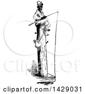 Vintage Black And White Sketched Man Sitting On A Post And Fishing