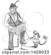 Vintage Black And White Sketched Man With A Music Box And Monkey