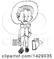 Poster, Art Print Of Vintage Black And White Sketched Man Going To College