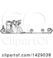 Clipart Of A Vintage Black And White Sketched Man Reading Royalty Free Vector Illustration