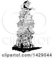 Vintage Black And White Sketched Professor On A Pile Of Books