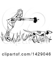 Vintage Black And White Sketched Male Hunter And Dog