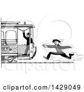 Clipart Of A Vintage Black And White Sketched Man Chasing A Train Royalty Free Vector Illustration by Prawny Vintage