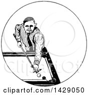 Poster, Art Print Of Vintage Black And White Sketched Man Playing Pool