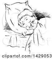 Vintage Black And White Sketched Man Sleeping