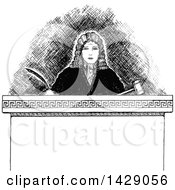 Clipart Of A Vintage Black And White Sketched Judge Royalty Free Vector Illustration by Prawny Vintage