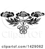 Clipart Of A Vintage Black And White Floral Design Royalty Free Vector Illustration