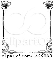 Clipart Of A Vintage Black And White Floral Border Royalty Free Vector Illustration