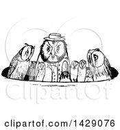 Clipart Of A Vintage Black And White Owl Family In A Circle Royalty Free Vector Illustration
