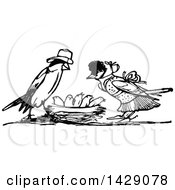 Poster, Art Print Of Vintage Black And White Bird Family With The Parents Over The Chicks