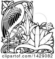 Clipart Of A Vintage Black And White Stork Or Heron Royalty Free Vector Illustration