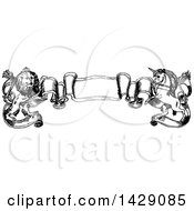 Clipart Of A Vintage Black And White Sketched Unicorn And Lion Banner Royalty Free Vector Illustration