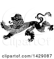 Clipart Of A Vintage Black And White Male Lion Royalty Free Vector Illustration by Prawny Vintage