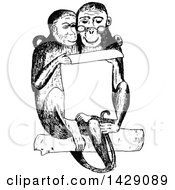 Clipart Of A Vintage Black And White Sketched Monkey Couple Reading A Notice Royalty Free Vector Illustration by Prawny Vintage