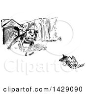 Vintage Black And White Sketched Dog Chasing Another From A House
