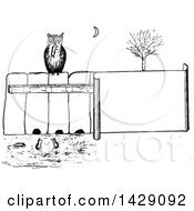 Clipart Of A Vintage Black And White Sketched Owl On A Fence Watching Mice Royalty Free Vector Illustration by Prawny Vintage