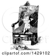 Clipart Of A Vintage Black And White Sketched Pouting Cupid In A Chair Royalty Free Vector Illustration by Prawny Vintage
