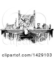 Clipart Of A Vintage Black And White Sketched Cherub Or Cupid At A Desk Royalty Free Vector Illustration by Prawny Vintage