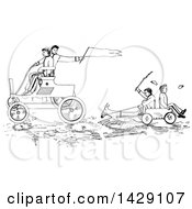 Clipart Of Vintage Black And White Sketched Boys Racing Carts Royalty Free Vector Illustration by Prawny Vintage