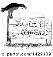 Vintage Black And White Sketched Crow On A Table Of Contents Sign