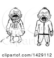 Vintage Black And White Sketched Crying Babies