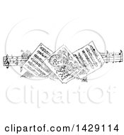 Vintage Black And White Sketched Border Of Sheet Music