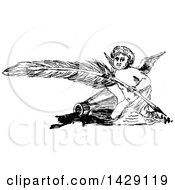 Clipart Of A Vintage Black And White Sketched Cherub With A Feather Quill Royalty Free Vector Illustration by Prawny Vintage