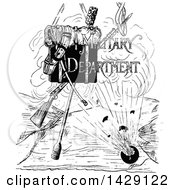 Clipart Of A Vintage Black And White Sketched Military Department Design Royalty Free Vector Illustration